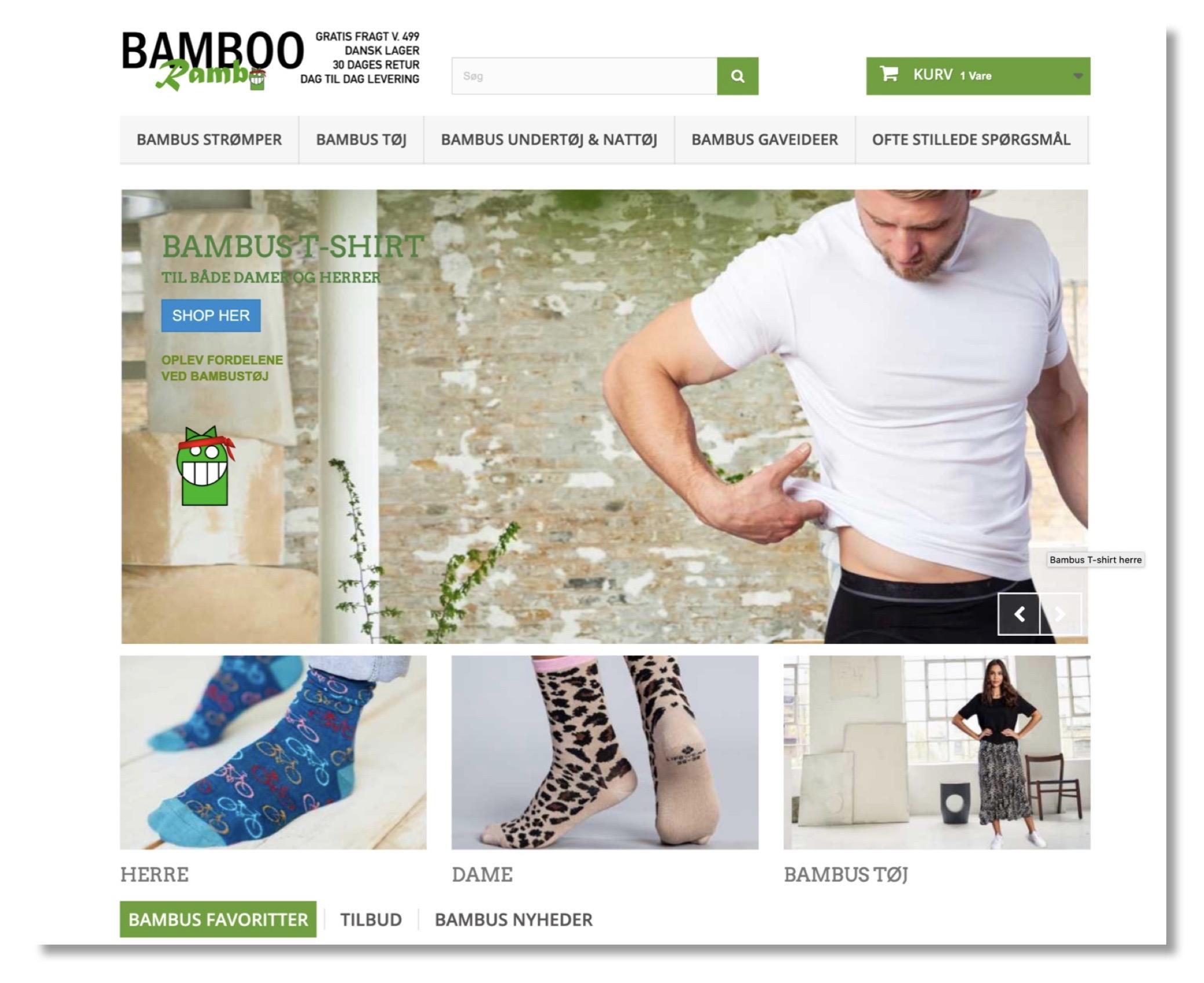 Eksempel på webshop design Bamboorambo.dk
