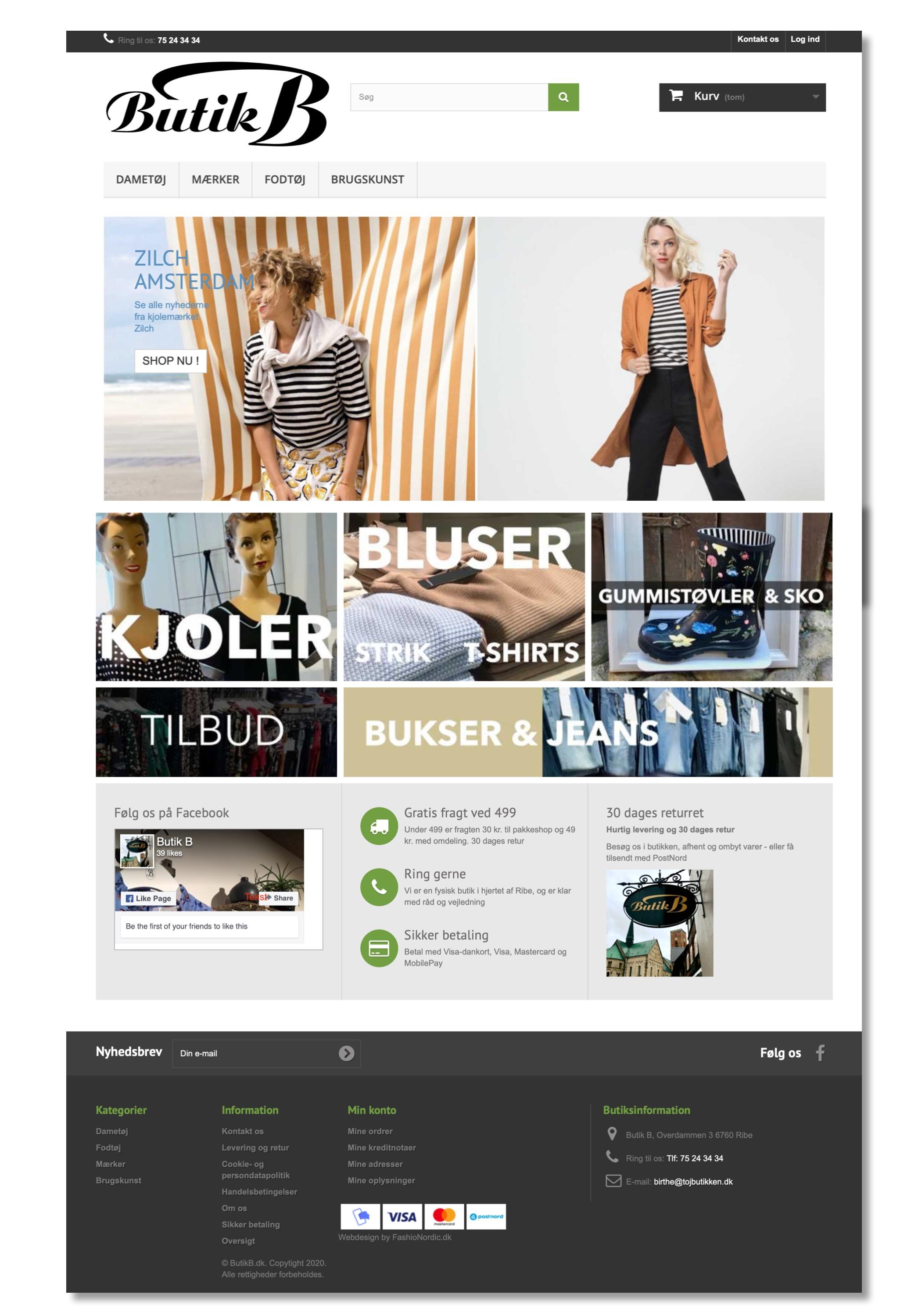 Eksempel på webshop design ButikB.dk
